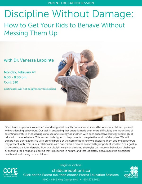 Parent Education Evening with Dr  Vanessa Lapointe